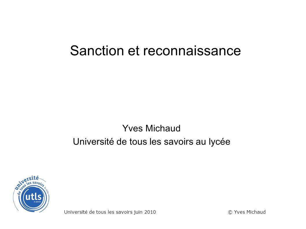 Sanction et reconnaissance