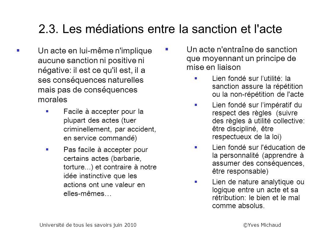 2.3. Les médiations entre la sanction et l acte