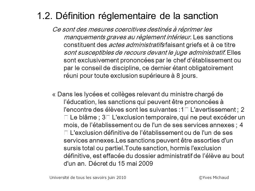1.2. Définition réglementaire de la sanction