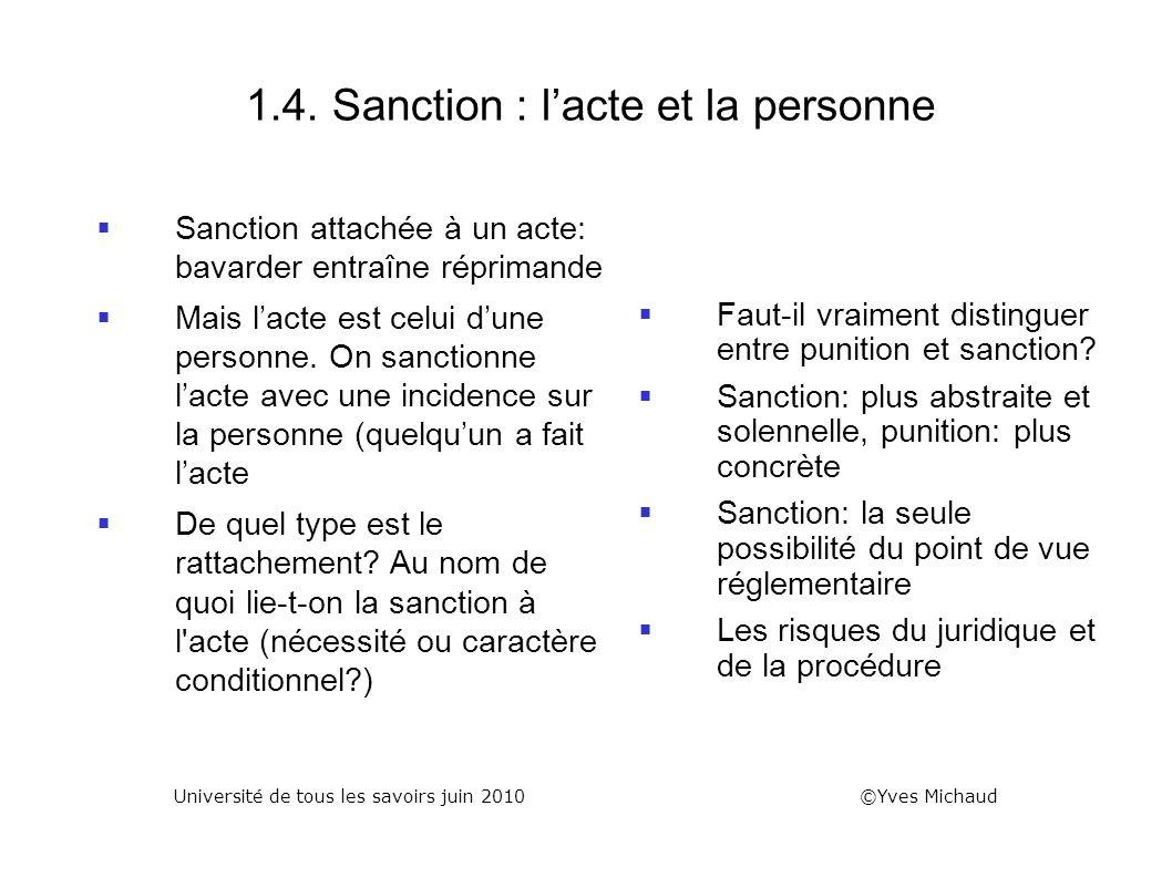 1.4. Sanction : l'acte et la personne