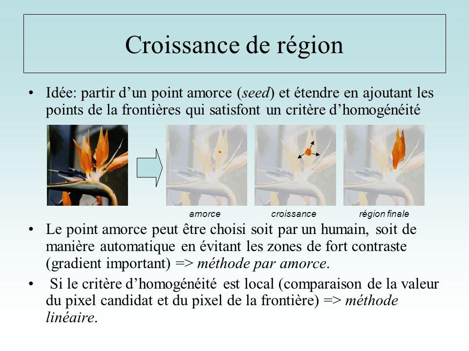 Croissance de région Idée: partir d'un point amorce (seed) et étendre en ajoutant les points de la frontières qui satisfont un critère d'homogénéité.