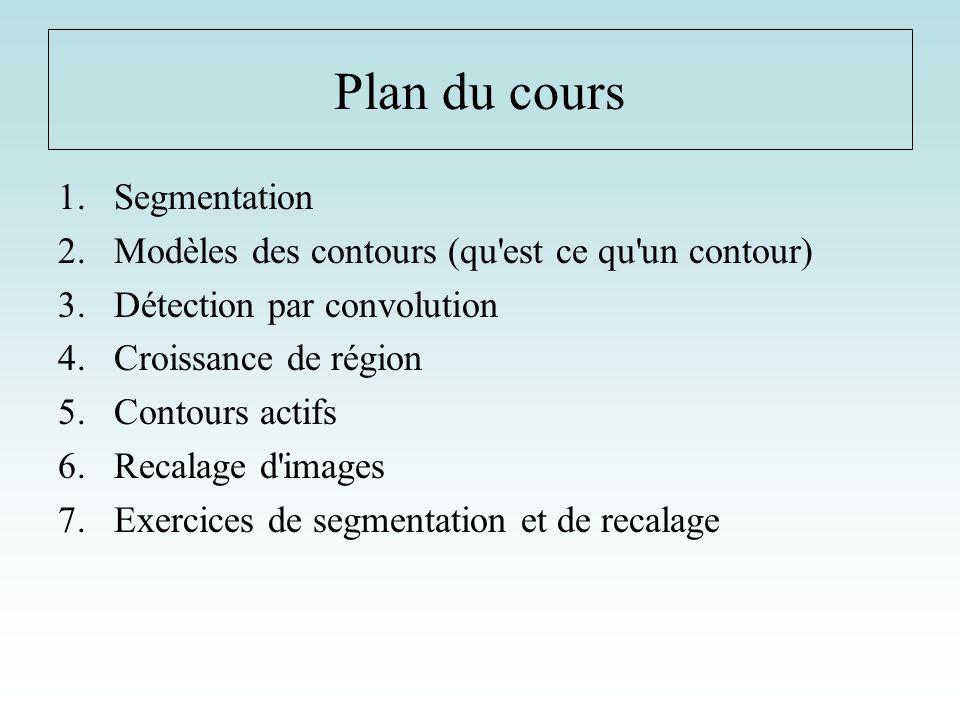 Plan du cours Segmentation