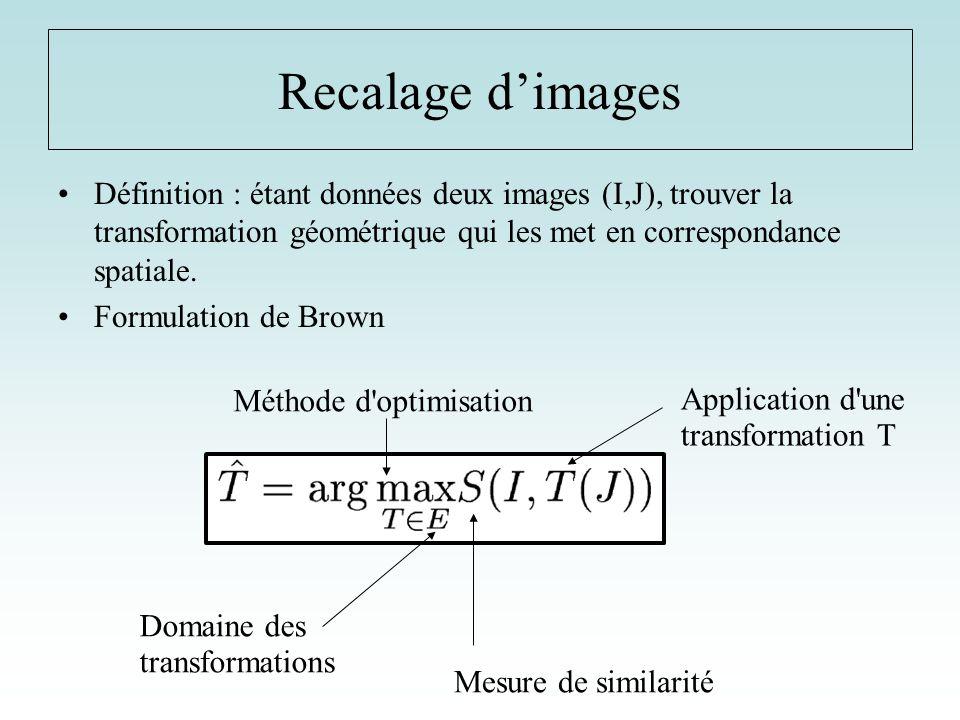 Recalage d'images Définition : étant données deux images (I,J), trouver la transformation géométrique qui les met en correspondance spatiale.