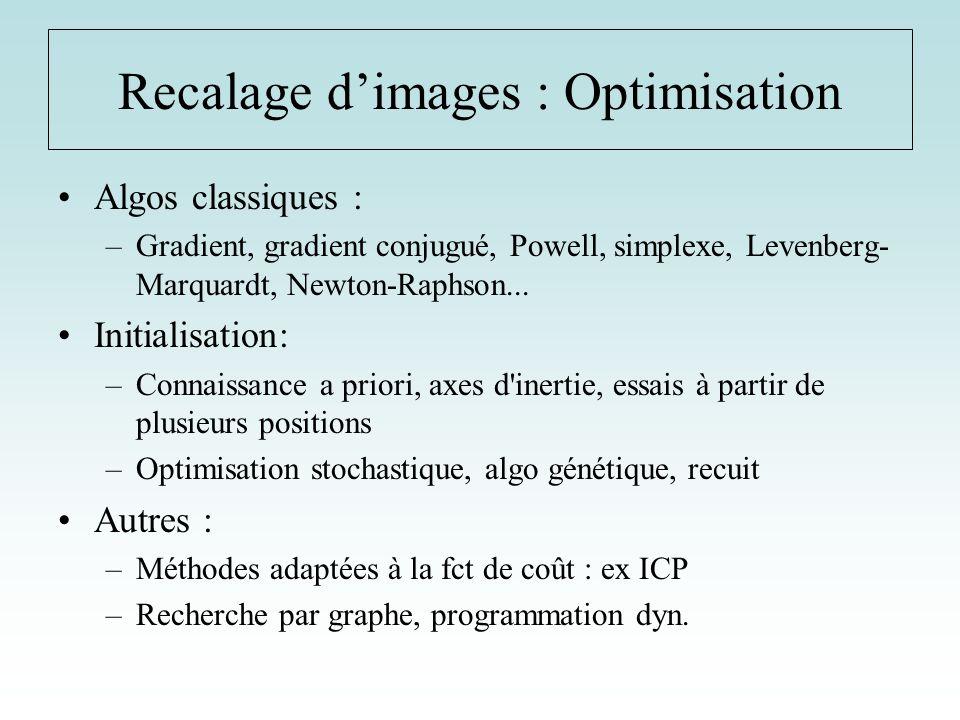 Recalage d'images : Optimisation