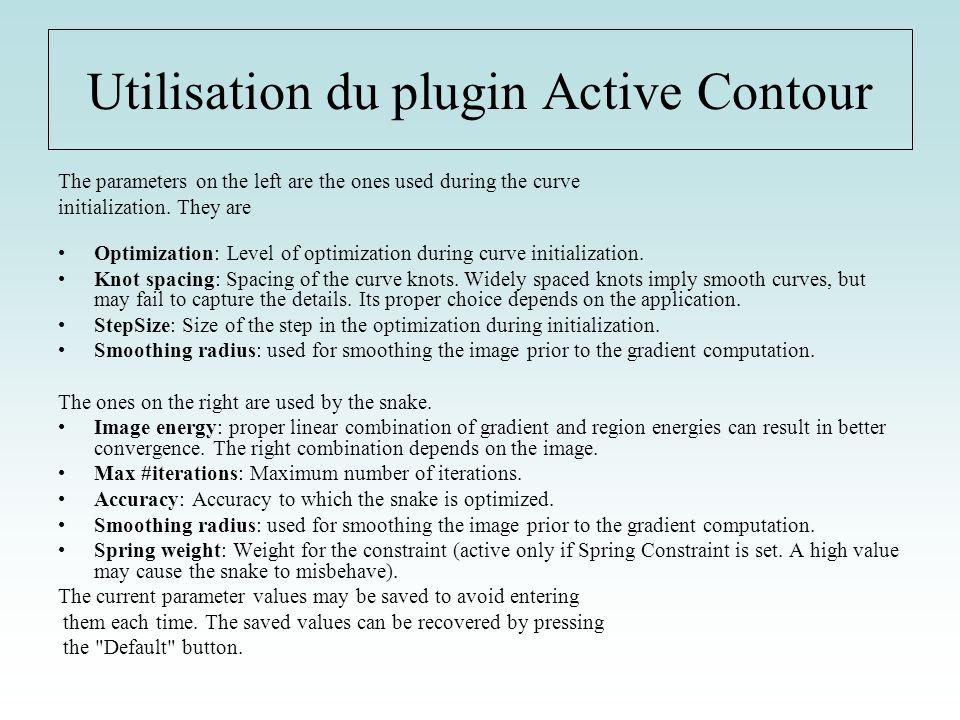 Utilisation du plugin Active Contour