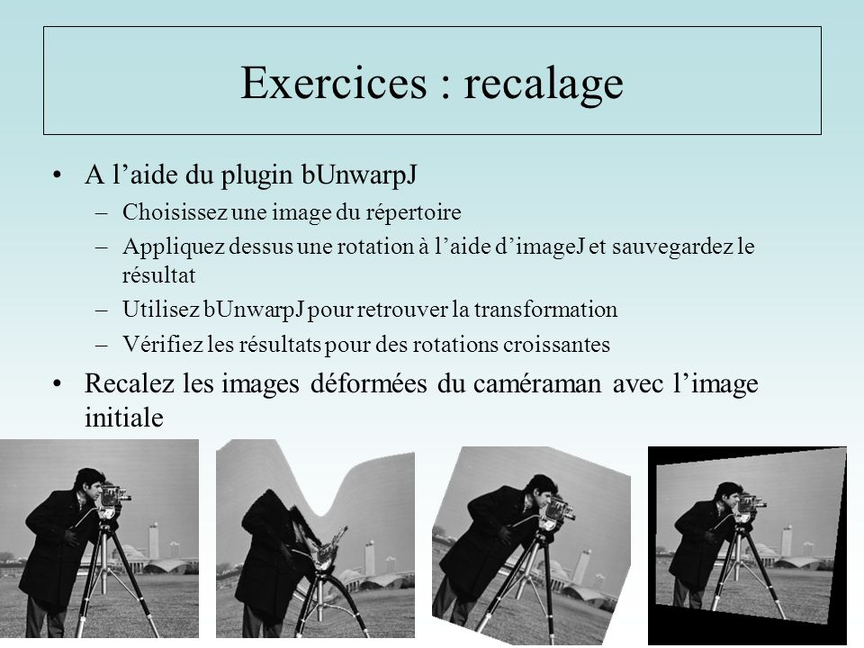 Exercices : recalage A l'aide du plugin bUnwarpJ