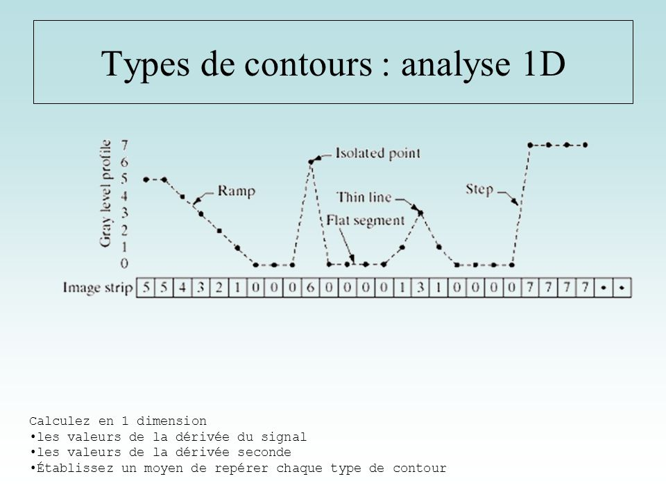 Types de contours : analyse 1D