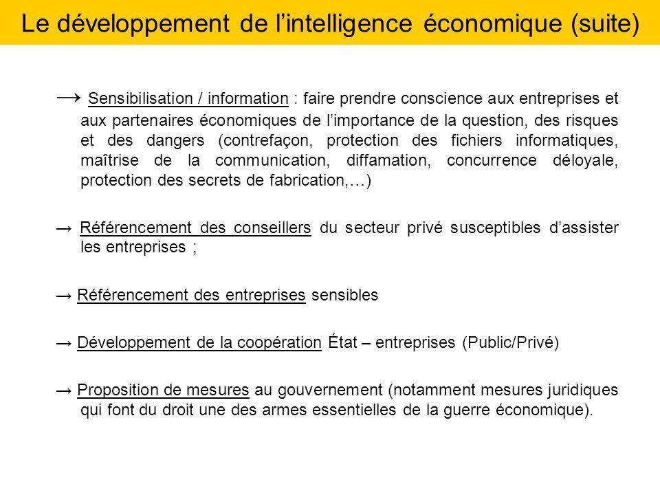 Le développement de l'intelligence économique (suite)
