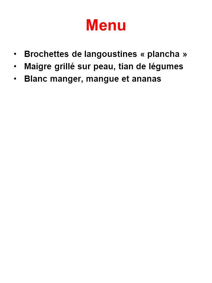 Menu Brochettes de langoustines « plancha »