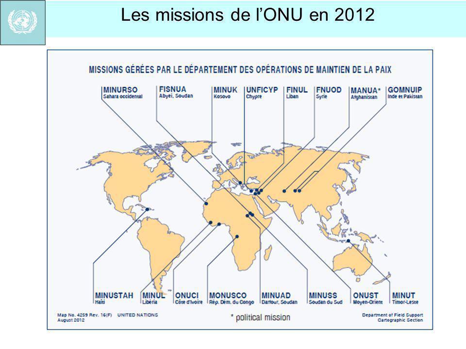 Les missions de l'ONU en 2012
