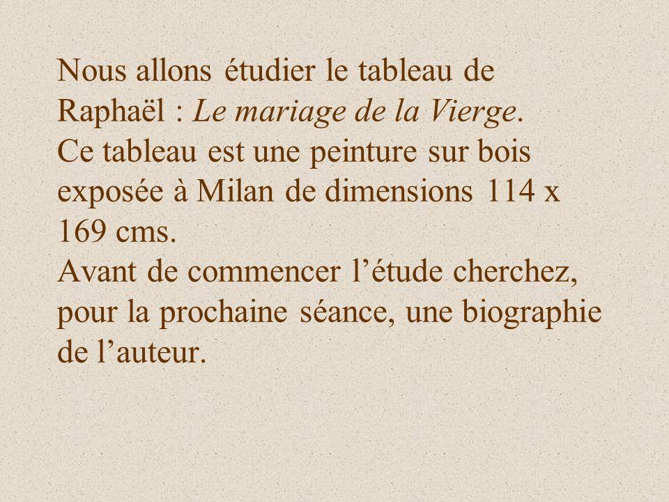 Nous allons étudier le tableau de Raphaël : Le mariage de la Vierge