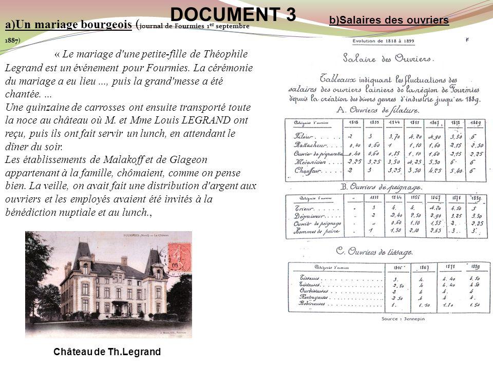 DOCUMENT 3 b)Salaires des ouvriers. a)Un mariage bourgeois (journal de Fourmies 1er septembre 1887)