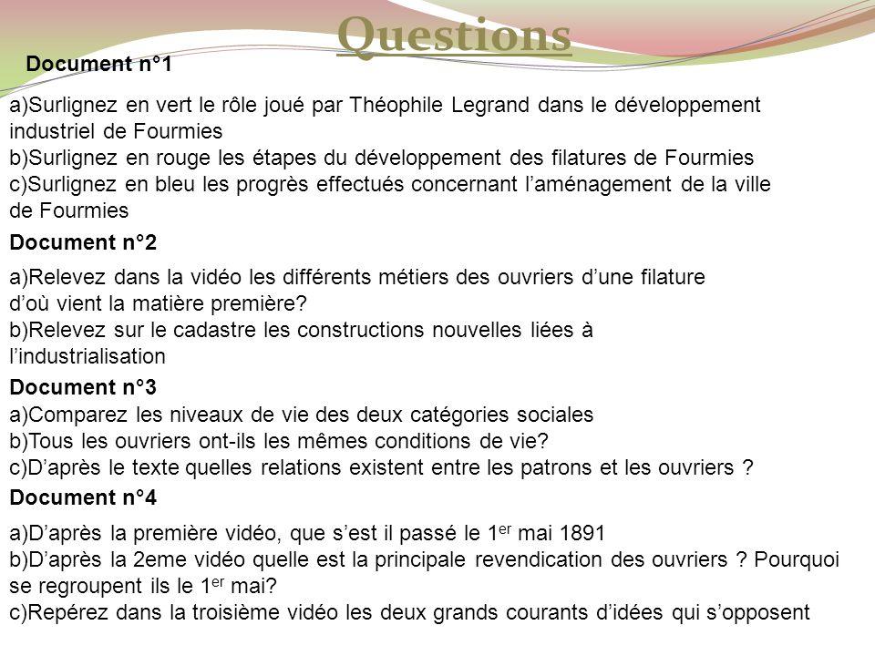 Questions Document n°1. a)Surlignez en vert le rôle joué par Théophile Legrand dans le développement industriel de Fourmies.