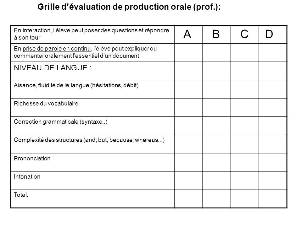 A B C D Grille d'évaluation de production orale (prof.):