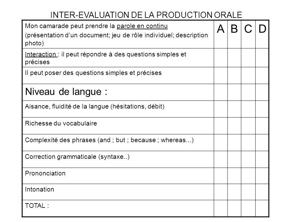 A B C D Niveau de langue : INTER-EVALUATION DE LA PRODUCTION ORALE