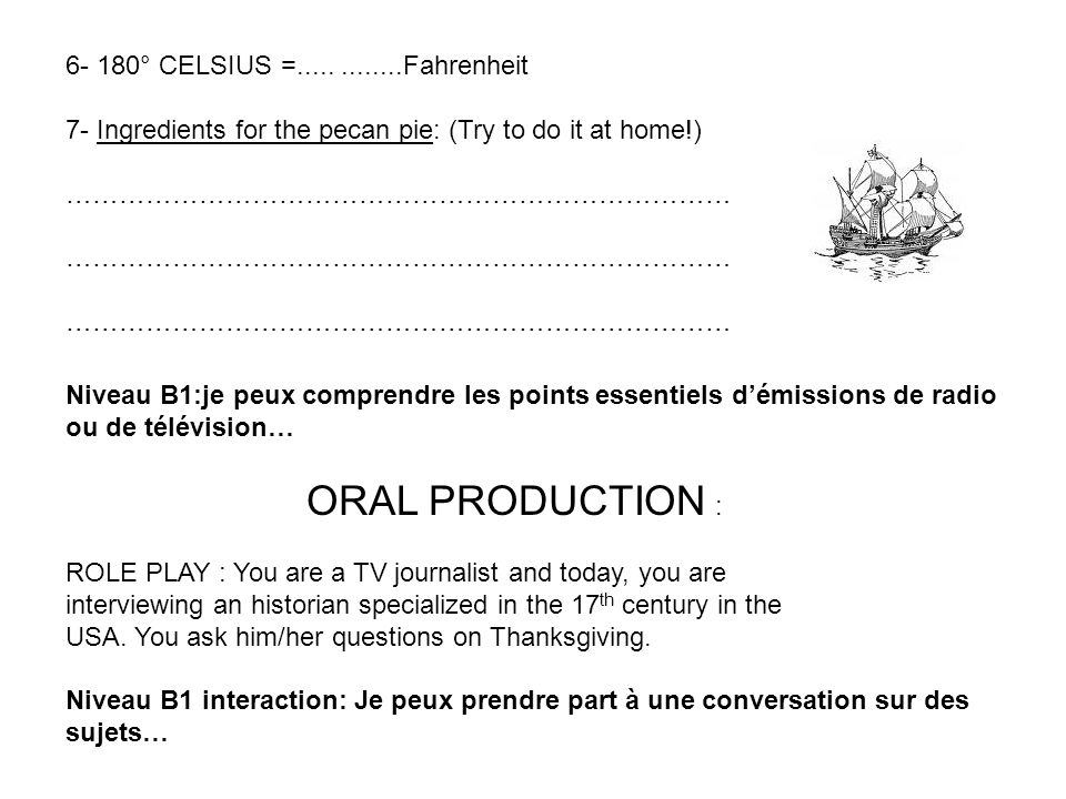 ORAL PRODUCTION : 6- 180° CELSIUS =..... ........Fahrenheit
