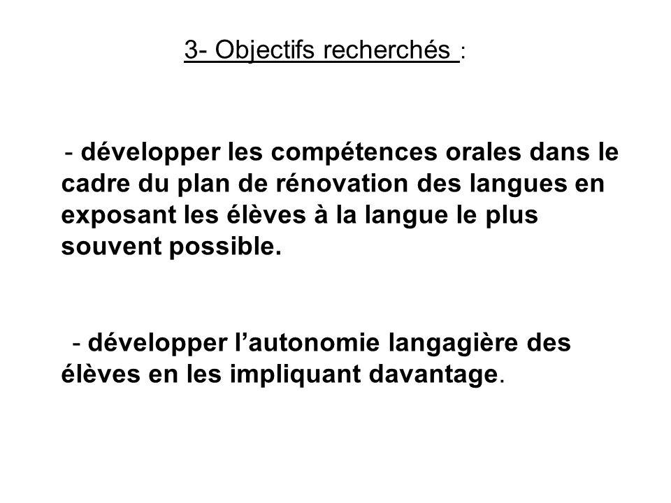 3- Objectifs recherchés :