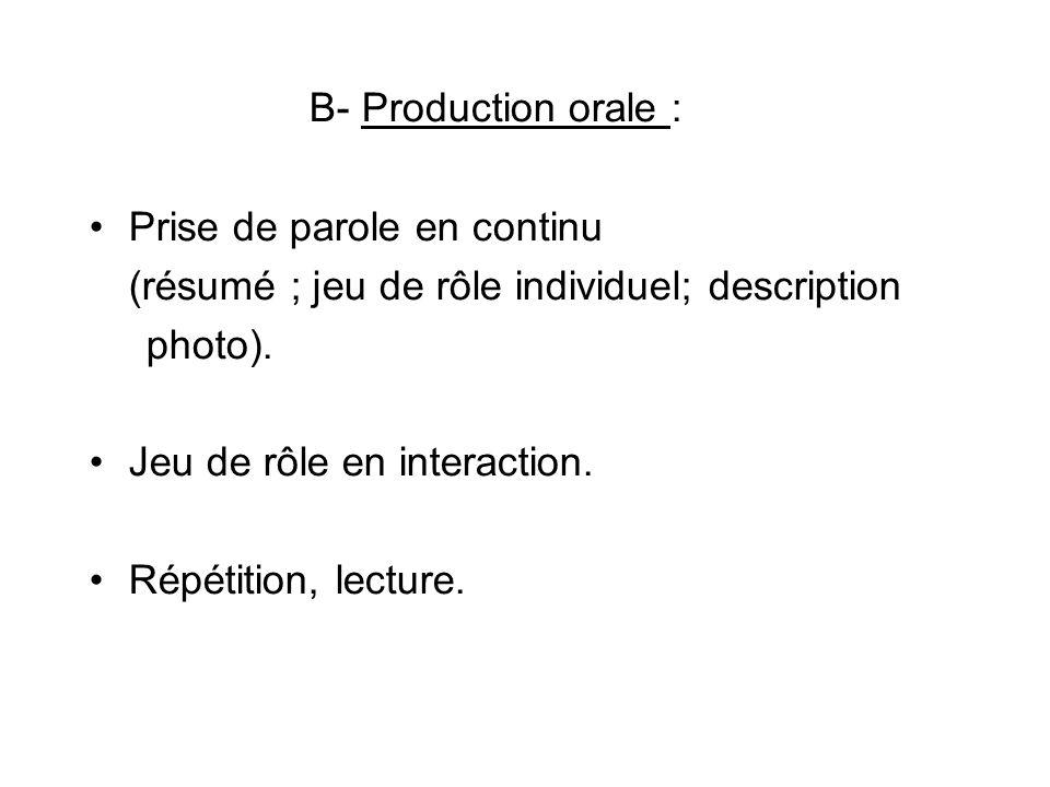 B- Production orale : Prise de parole en continu