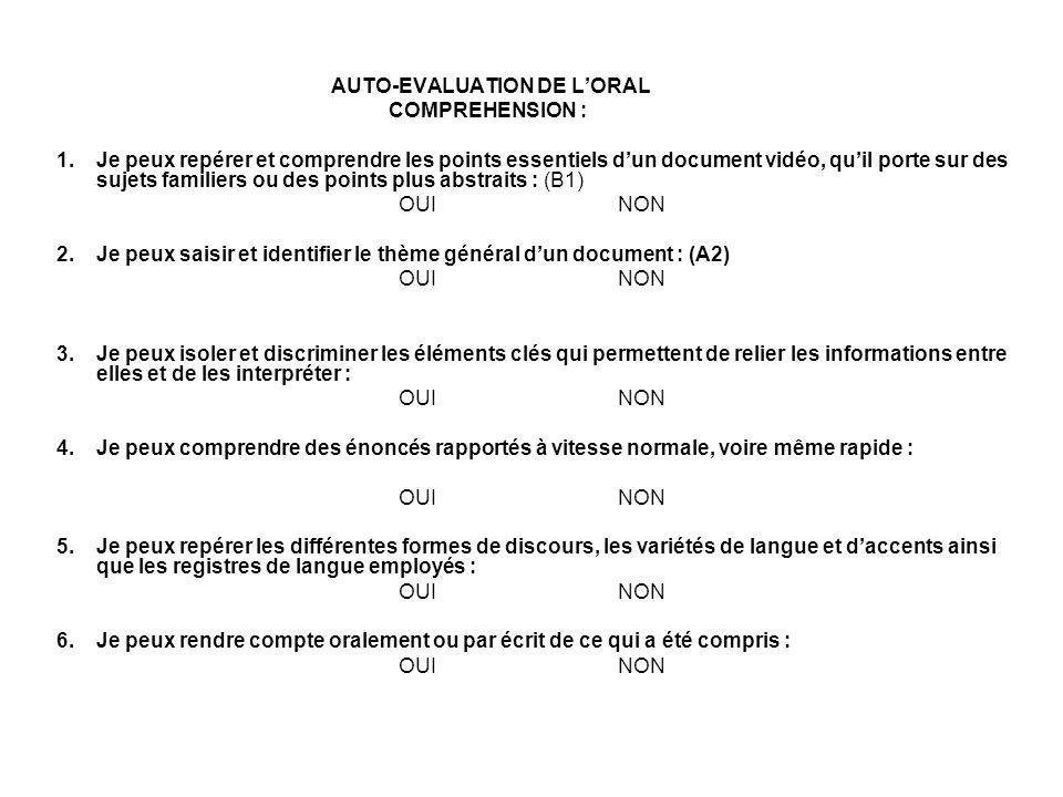AUTO-EVALUATION DE L'ORAL