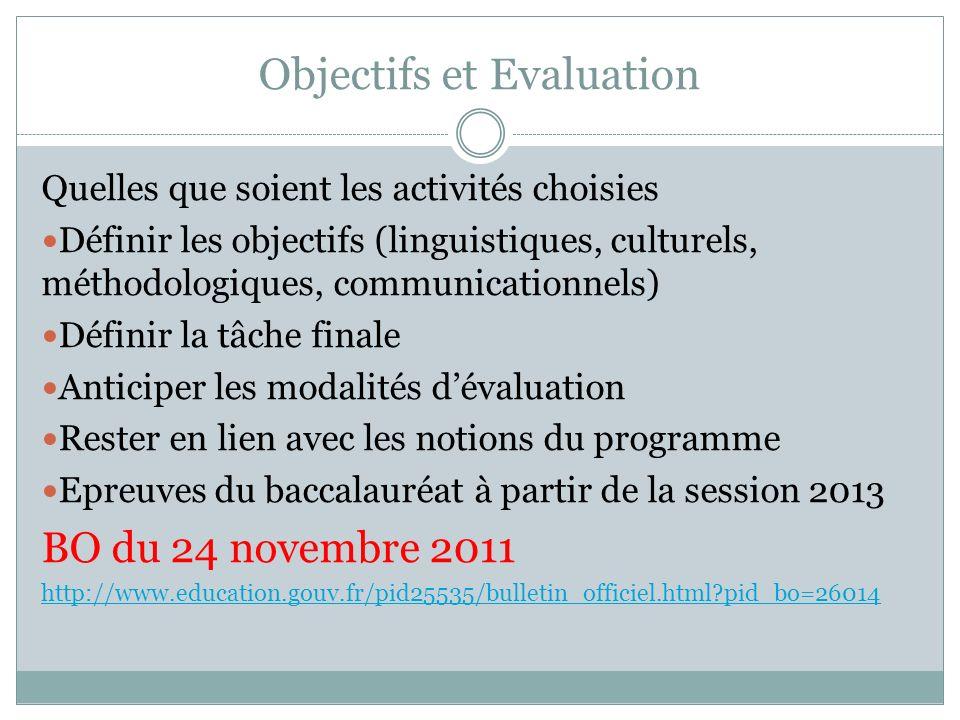 Objectifs et Evaluation