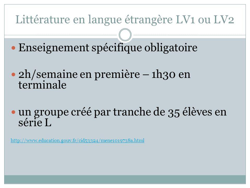Littérature en langue étrangère LV1 ou LV2