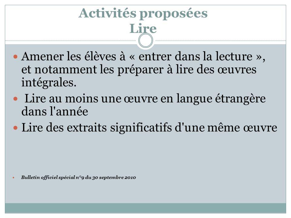 Activités proposées Lire