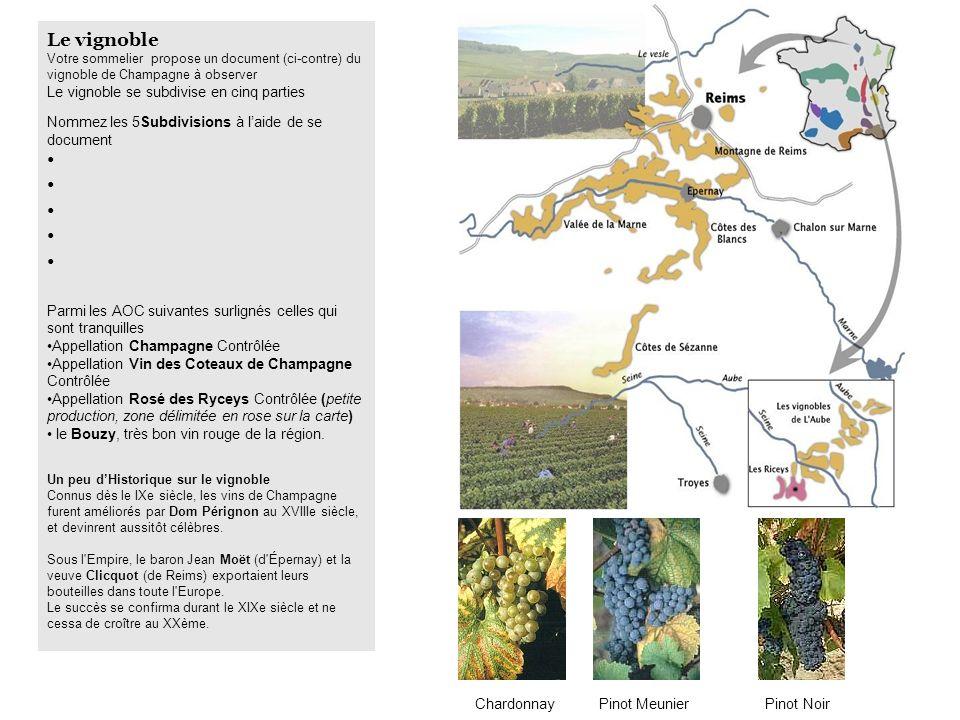 Le vignoble Le vignoble se subdivise en cinq parties