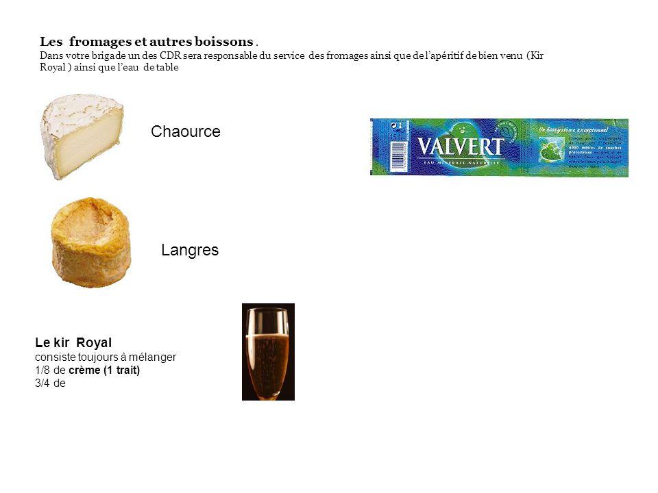 Les fromages et autres boissons