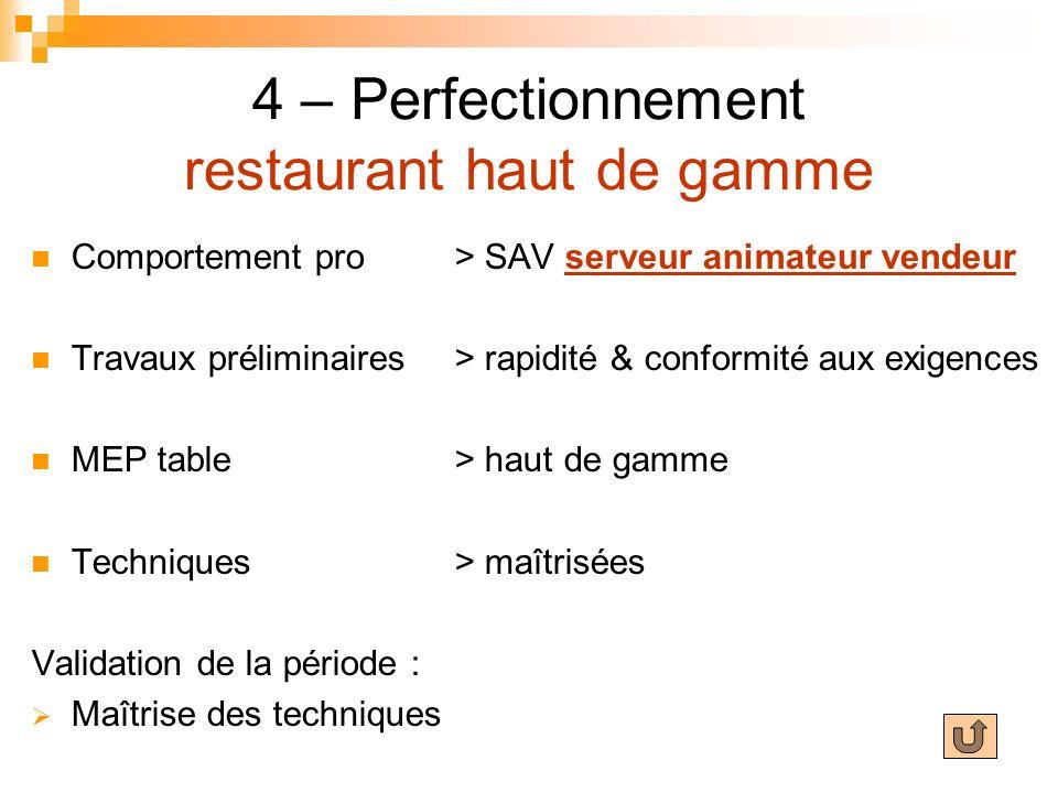 4 – Perfectionnement restaurant haut de gamme