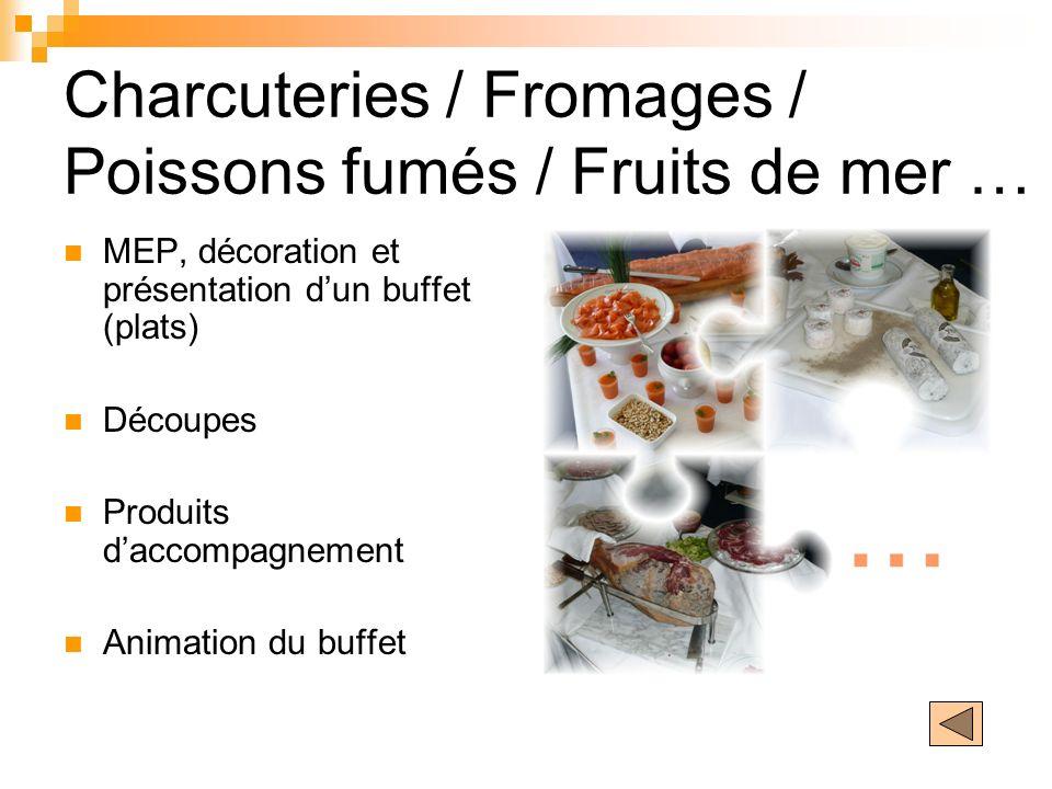 Charcuteries / Fromages / Poissons fumés / Fruits de mer …