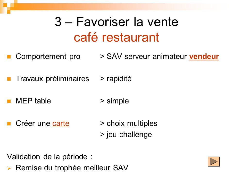 3 – Favoriser la vente café restaurant