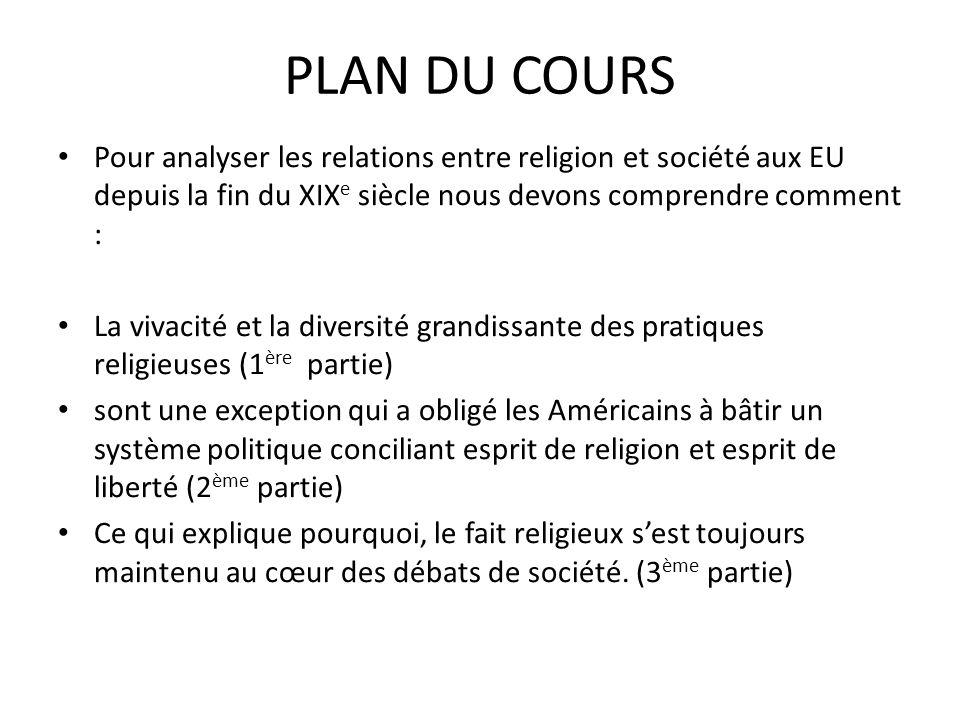 PLAN DU COURS Pour analyser les relations entre religion et société aux EU depuis la fin du XIXe siècle nous devons comprendre comment :