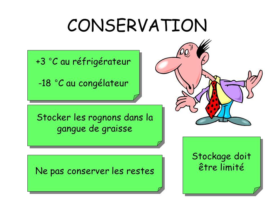 CONSERVATION +3 °C au réfrigérateur -18 °C au congélateur
