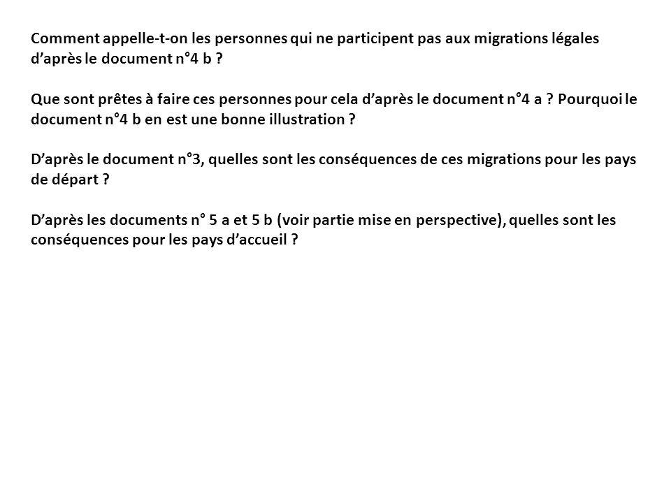 Comment appelle-t-on les personnes qui ne participent pas aux migrations légales d'après le document n°4 b
