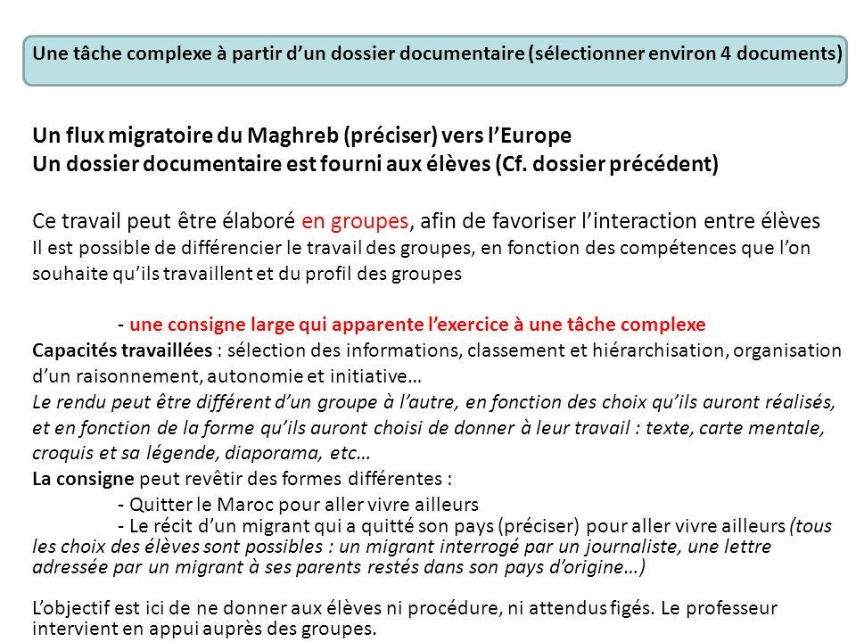 Un flux migratoire du Maghreb (préciser) vers l'Europe