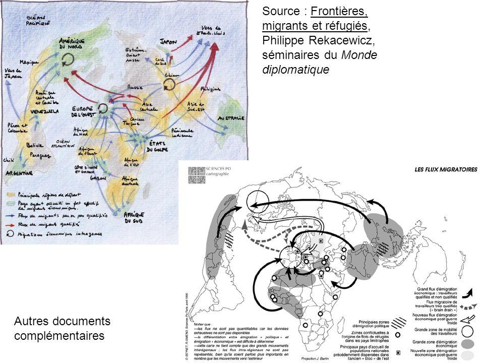 Source : Frontières, migrants et réfugiés, Philippe Rekacewicz, séminaires du Monde diplomatique