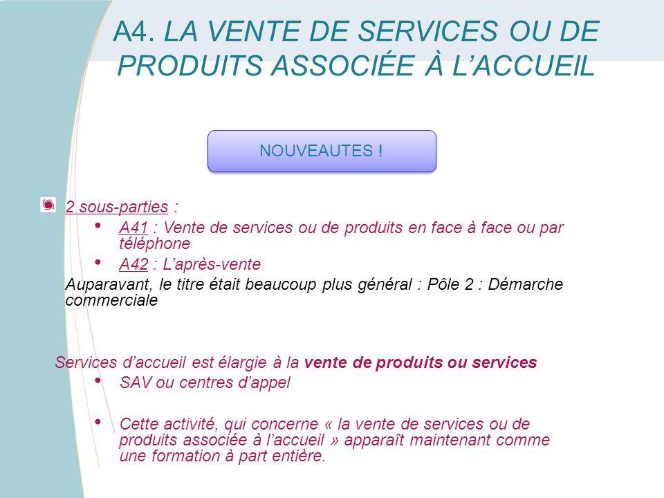 A4. LA VENTE DE SERVICES OU DE PRODUITS ASSOCIÉE À L'ACCUEIL