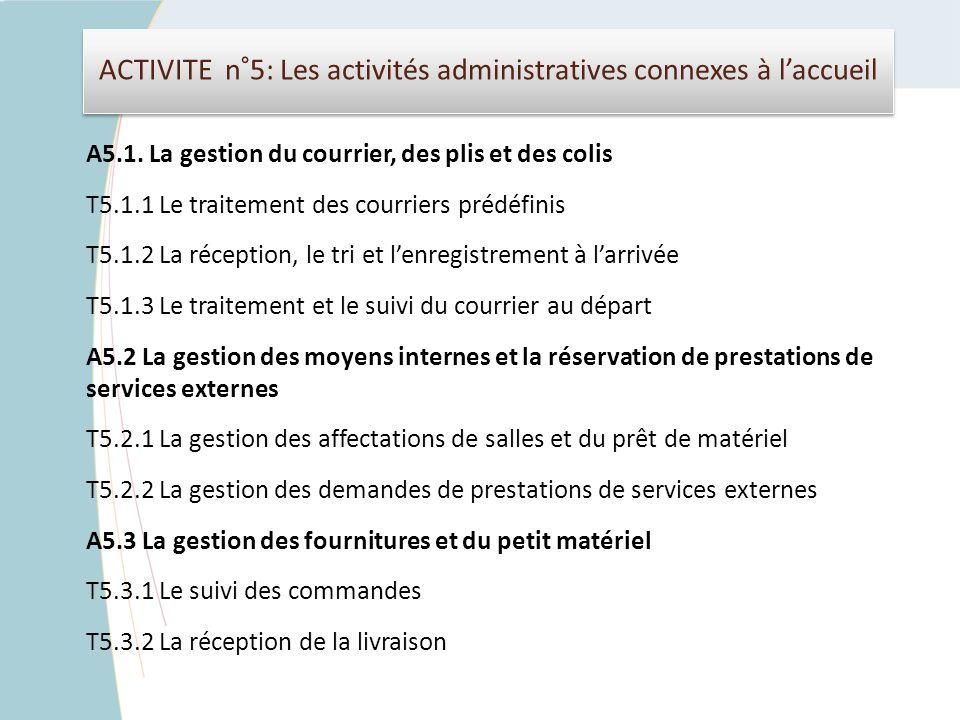 ACTIVITE n°5: Les activités administratives connexes à l'accueil