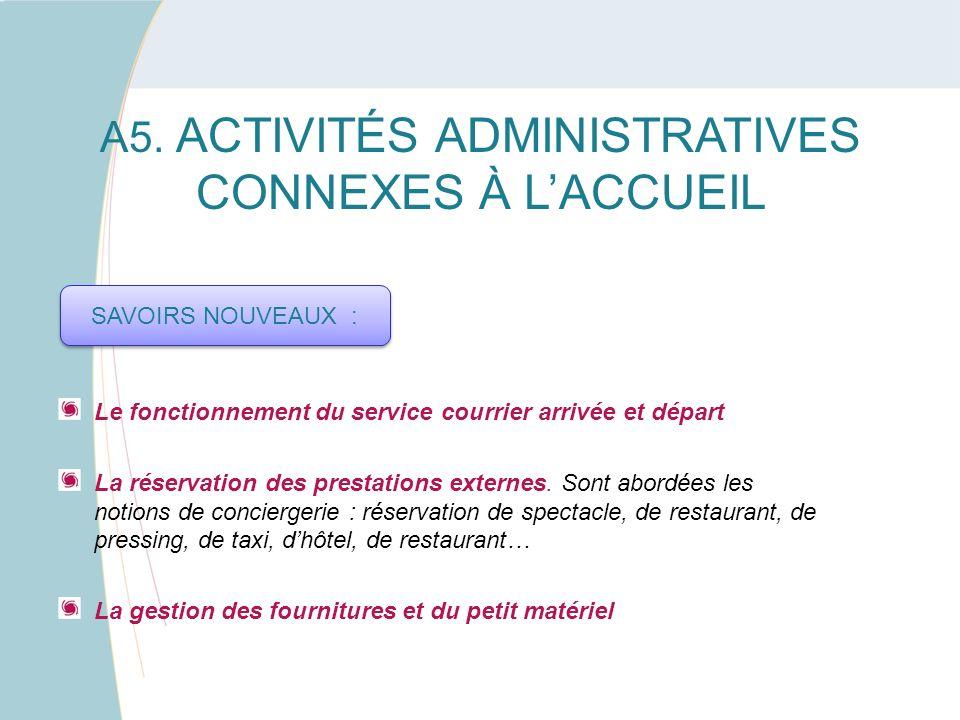 A5. ACTIVITÉS ADMINISTRATIVES CONNEXES À L'ACCUEIL