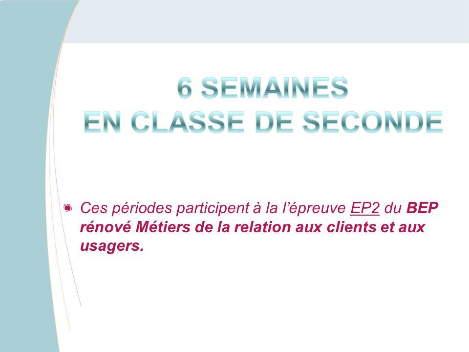 Ces périodes participent à la l'épreuve EP2 du BEP rénové Métiers de la relation aux clients et aux usagers.