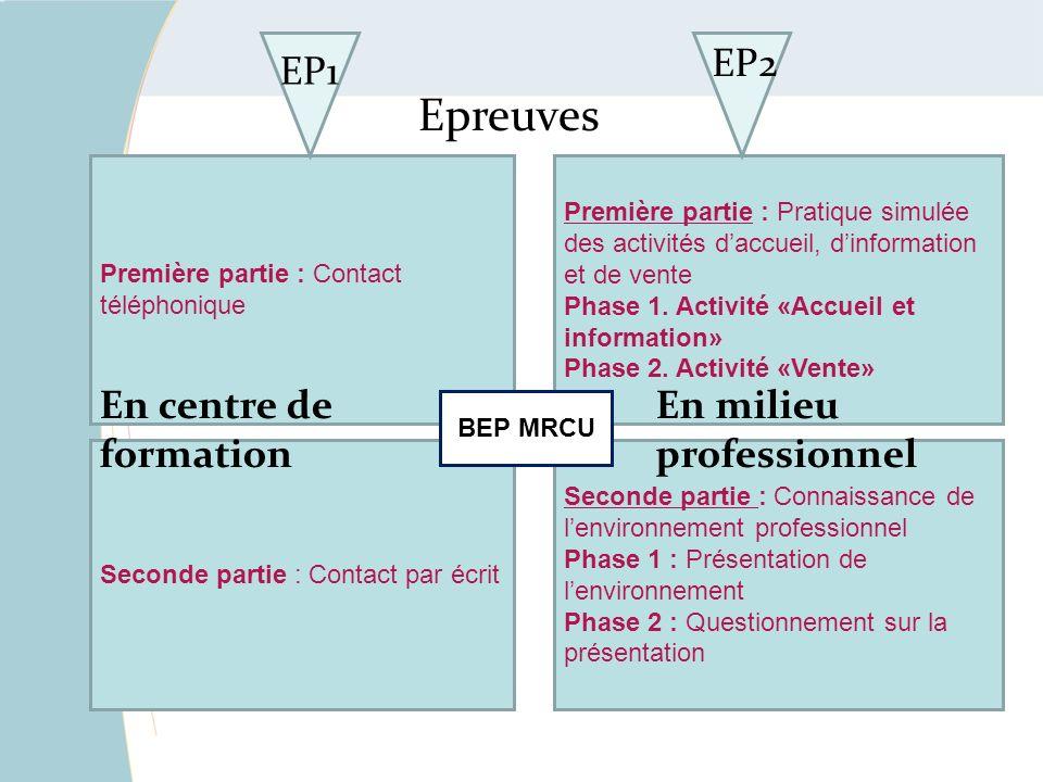 Epreuves EP1 EP2 En centre de formation En milieu professionnel