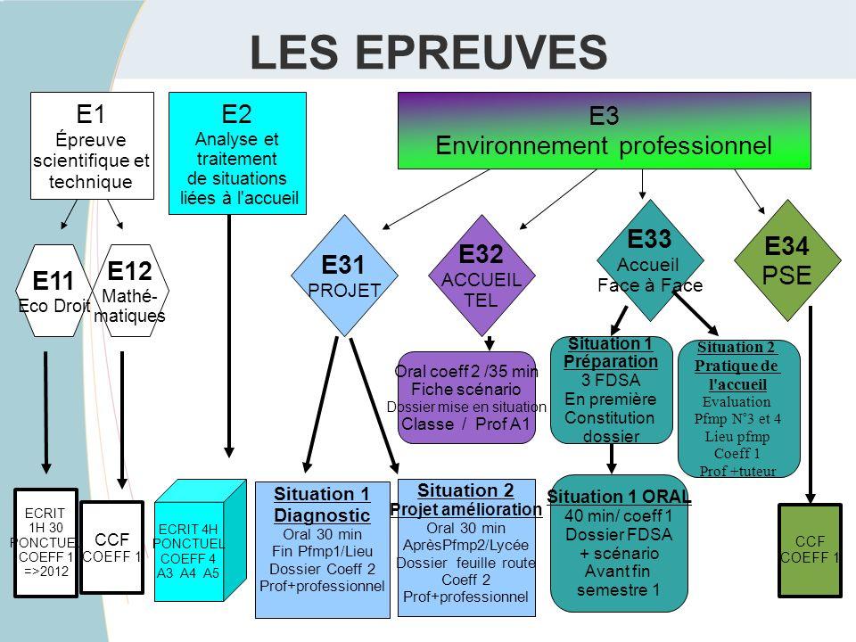 LES EPREUVES E1 E2 E3 Environnement professionnel E33 E34 PSE E31 E32