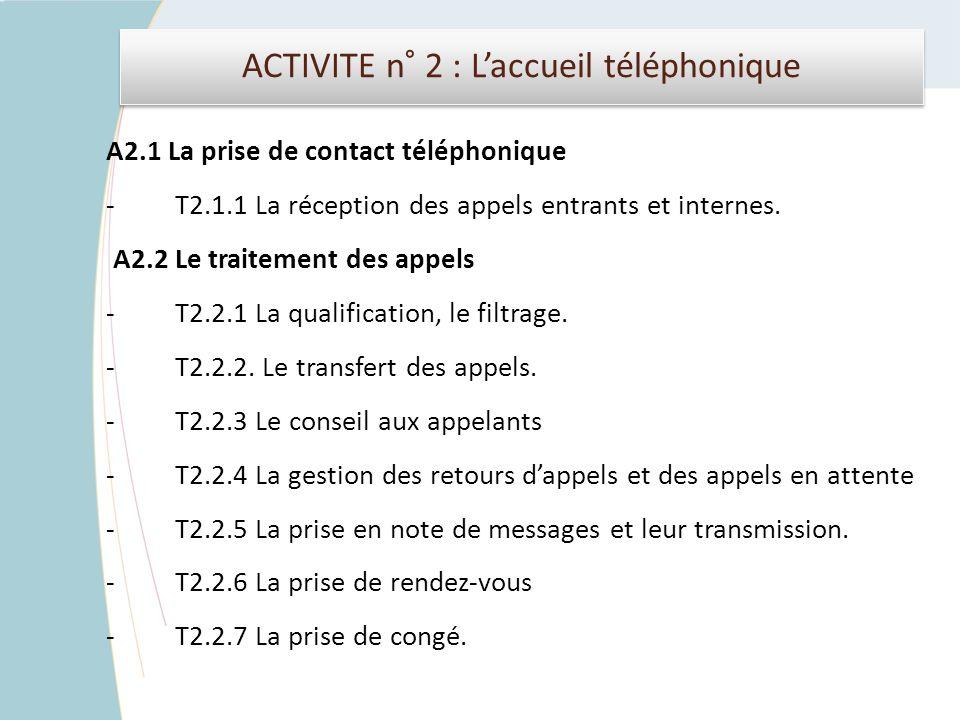 ACTIVITE n° 2 : L'accueil téléphonique