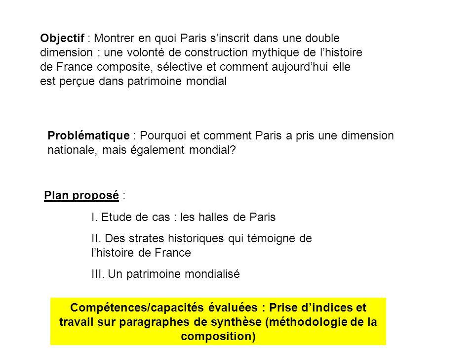 Objectif : Montrer en quoi Paris s'inscrit dans une double dimension : une volonté de construction mythique de l'histoire de France composite, sélective et comment aujourd'hui elle est perçue dans patrimoine mondial