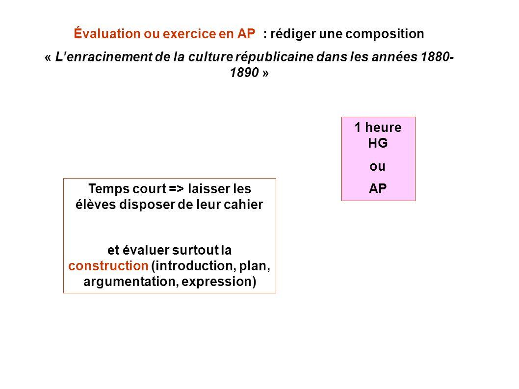 Évaluation ou exercice en AP : rédiger une composition