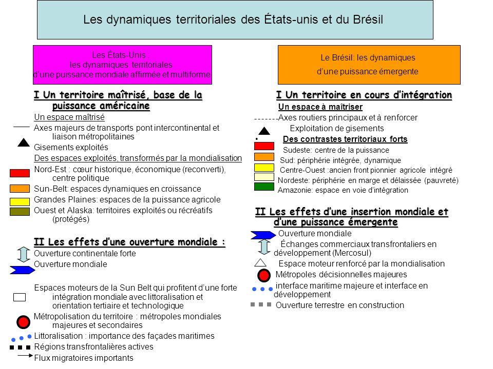 Les dynamiques territoriales des États-unis et du Brésil