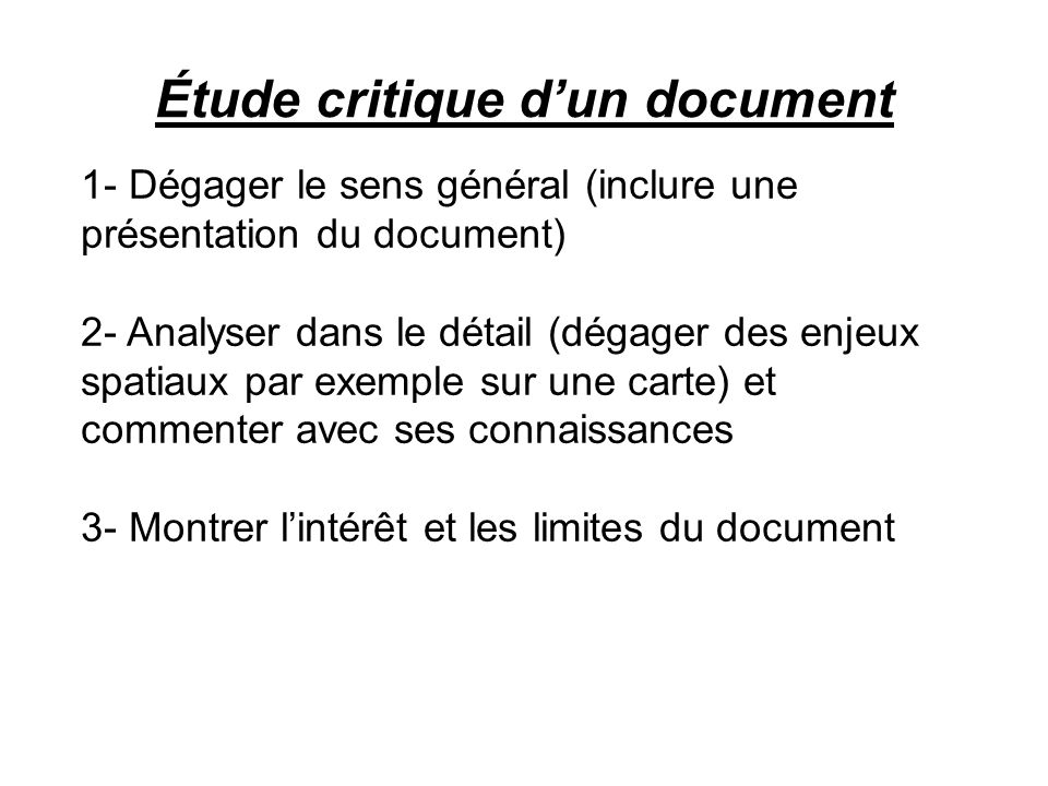 Étude critique d'un document