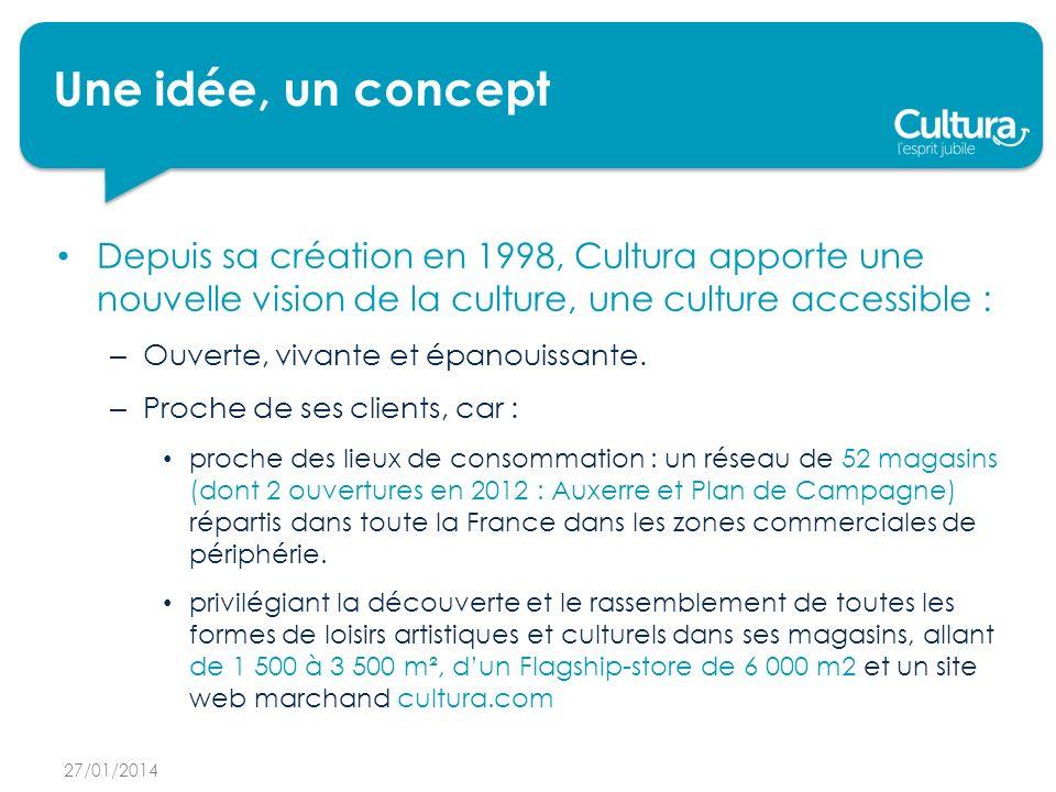 Une idée, un concept Depuis sa création en 1998, Cultura apporte une nouvelle vision de la culture, une culture accessible :