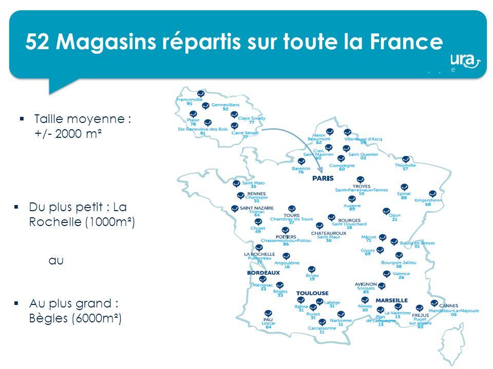 52 Magasins répartis sur toute la France