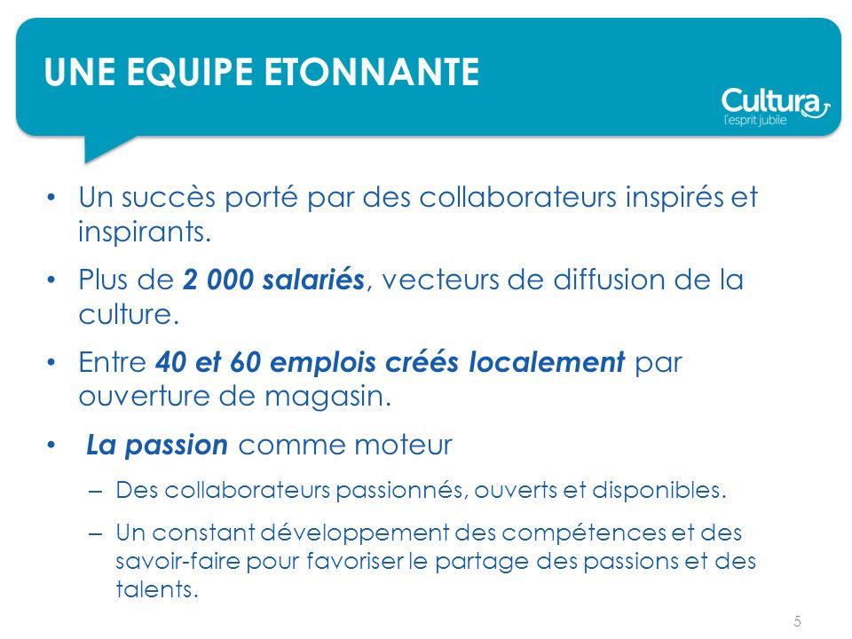 UNE EQUIPE ETONNANTE Un succès porté par des collaborateurs inspirés et inspirants. Plus de 2 000 salariés, vecteurs de diffusion de la culture.